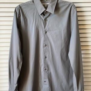 Express 1MX Slim/Fitted Solid Dress Shirt Gray